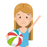 Half body cartoon blond girl with summer swimsuit and ball Stock Photo