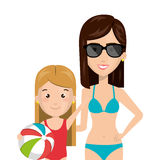 Half body cartoon blond girl with woman in bikini Royalty Free Stock Image