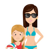 Half body cartoon blond girl with woman in bikini Stock Photos