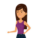 Half body cartoon brunette woman in casual suit Stock Photography
