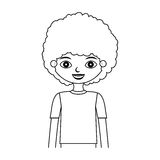 Half body child silhouette with curly hair. Vector illustration Royalty Free Stock Photo