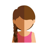 Half body gilr half brunette and caucasian with tail. Vector illustration Royalty Free Stock Photo