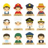 Half Body Male Workers Vector Collection Royalty Free Stock Photos