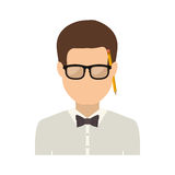 Half body man with bowtie in shirt and glasses Stock Images