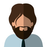 Half body man half brunette and caucasian with beard. Vector illustration Stock Photos