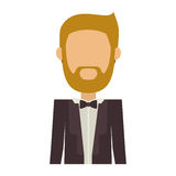 Half body man in suit with beard without face. Vector illustration Stock Photography