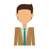 Half body man with suit without face and black hair. Vector illustration Stock Images