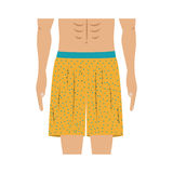 Half body men with yellow swimming short Royalty Free Stock Images
