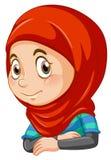 Half body of muslim girl. Illustration royalty free illustration