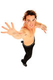 Half body naked young man. Half body young man with long hair jumping Stock Photo