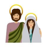 Half body picture colorful virgin mary and saint joseph Stock Photography