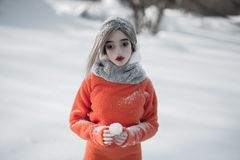 Frozen. Half body portrait of Hatsune Miku Ball-Jointed doll (BJD royalty free stock photos