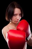 Beautiful nude girl with boxing gloves Royalty Free Stock Images