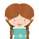 Half body pretty girl with braids. Illustration Stock Photos