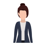 Half body silhouette executive woman with collected hair Stock Photo