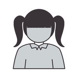 Half body silhouette girl with pigtails Stock Photos