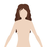 Half body woman body with wavy hair. Vector illustration Royalty Free Stock Photo