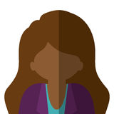 Half body woman brunette in gradient with wavy hair. Vector illustration Stock Photo