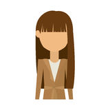 Half body woman in dress and long brunette hair. Vector illustration Royalty Free Stock Images