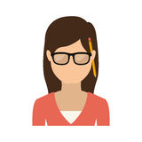 Half body woman with glasses and jacket Stock Photography