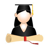 Half body woman graduate outfit and certificate of graduation. Vector illustration Stock Photo