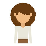 Half body woman with skirt and curly hair Royalty Free Stock Photography