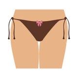 Half body women with brown tanga bikini Stock Photo