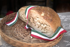 Half bread, tricolor ribbon Royalty Free Stock Photography