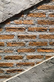 Half brick half concrete wall Stock Images
