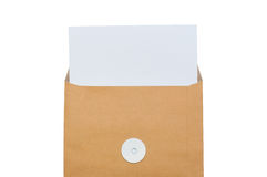 Half brown envelop with paper Royalty Free Stock Images