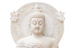 Half buddha status on white background. White buddha status isolated on white background Royalty Free Stock Photo
