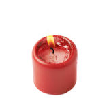 Half-burned lit red candle isolated Stock Images