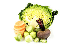 Half a Cabbage with Beetroot and Sprouts Stock Photos