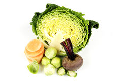 Half a Cabbage with Beetroot and Sprouts Royalty Free Stock Images