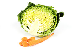 Half a Cabbage with Chopped Carrot Stock Photography