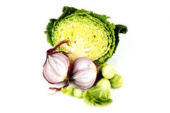 Half a Cabbage with Red Onion and Sprouts Royalty Free Stock Photography