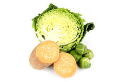 Half a Cabbage with Sweet Potato and Sprouts Royalty Free Stock Photos