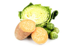 Half a Cabbage with Sweet Potato and Sprouts Royalty Free Stock Image