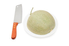 Half of cantaloupe melon  with Knife isolated Royalty Free Stock Photography