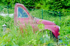 Half car. Behind the front seats separated by overgrown grass Stock Photography