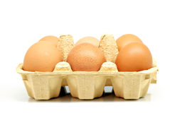 Half carton of Eggs Stock Photos