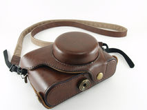 brown camera leather case (half case) Royalty Free Stock Photography