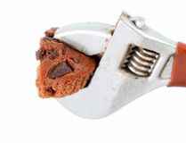 Half Chocolate muffin pressed Royalty Free Stock Images