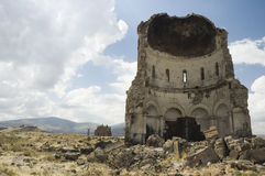 Half a church ruin. The shell of a ruined church in the ancient site of ani in eastern turkey royalty free stock photos