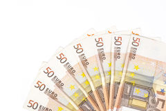 Half circle made with banknotes 50 euro european money on white background Stock Photography