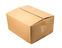 Half-closed brown cardboard box for packing ,isolated on a white Stock Photos