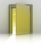 Half closed golden door frame Royalty Free Stock Photography