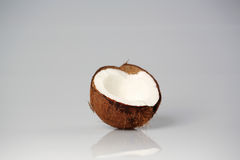 Half of coconut closeup. On a gray background Royalty Free Stock Images