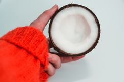 A half of coconut in the hand royalty free stock photo