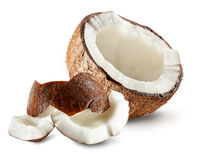 Half of coconut isolated on white background Royalty Free Stock Photography